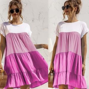 Boho spring summer ruffle trim mini dress